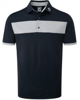 FootJoy Smooth Pique With Heather Pieced Stripe Polo Shirt - Navy/Heather Grey