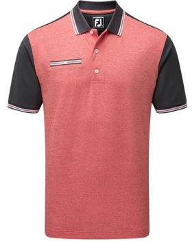 FootJoy Stretch Pique Front Colour Block Polo Shirt - Charcoal/Red