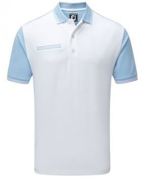Footjoy Stretch Pique Front Colour Block Polo - Light Blue/White