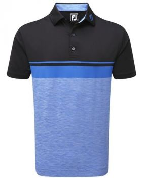 Footjoy Lisle Colour Block with Space Dye Polo - Black/Cobalt