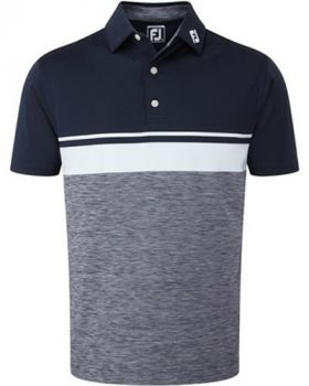 Footjoy Lisle Colour Block with Space Dye Polo Shirt - Navy/ White/ Charcoal