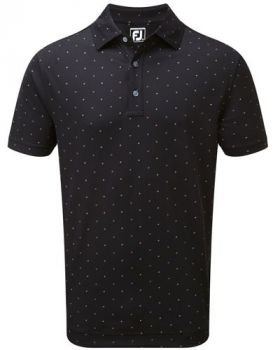 Footjoy Smooth Pique Square Print Polo - Black