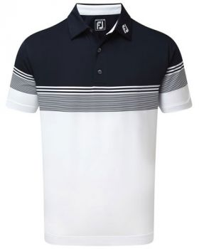 Footjoy Stretch Lisle Gradient Colour Block Polo - Navy/White