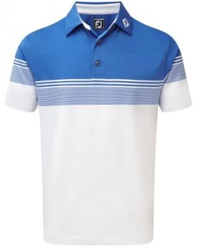 Footjoy Stretch Lisle Gradient Colour Block Polo - Marine/White
