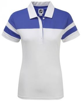 Footjoy Women's Smooth Pique Colour Block Polo - White/Periwinkle