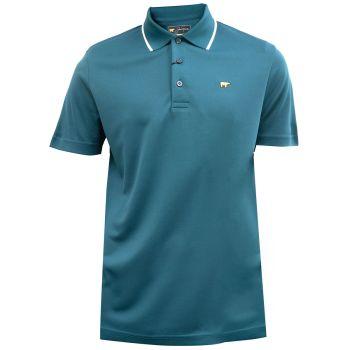 Jack Nicklaus Fancy Contrast Collar Solid Polo - Atlantic Deep Green