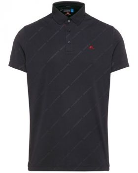 J.Lindeberg M Clay Reg Fit Tx Jersey + Polo Shirt -  Black Emb. Print