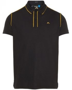 J.Lindeberg M Tomi Reg Lux Pique Polo Shirt - Black