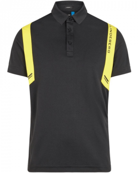 J.Lindeberg Aaron Slim Fit Polo Shirt - Black/Yellow