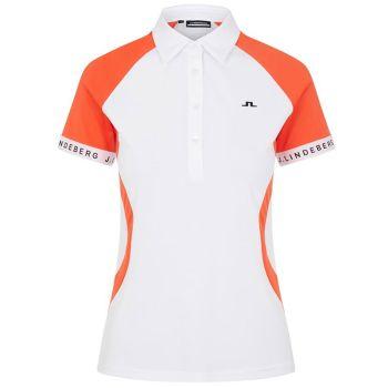 J.Lindeberg Women's Behati Golf Polo - White/Tiger Orange - FW21