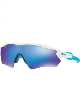 OAKLEY RADAR EV XS PATH SUNGLASSES YOUTH FIT POLISHED WHITE FRAME SAPPHIRE IRIDIUM LENS