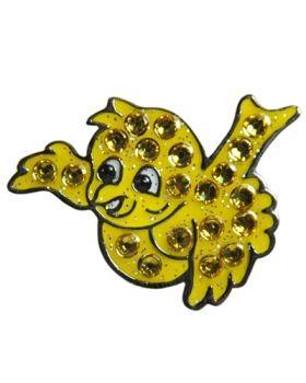 Navika Yellow Birdie Swarovski Crystal Ball Marker