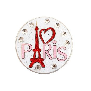 Navika I Love Paris Ball Marker Adorned With Crystals From Swarovzki- With Hat Clip