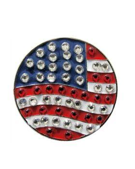 Navika Round US Flag Swarovski Crystal Ball Marker