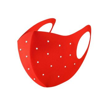 Navika Swarovski Crystals Face Mask - Red