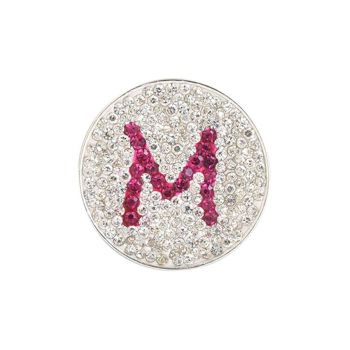 Navika  Pink Initial Micro Pave Crystal Ball Marker + Clip  M