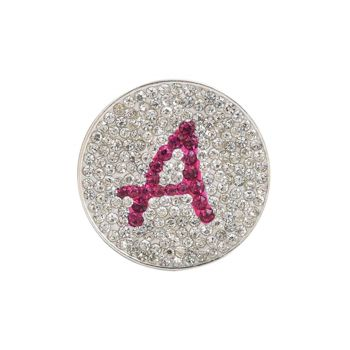 Navika  Pink Initial Micro Pave Crystal Ball Marker + Clip  A