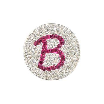 Navika  Pink Initial Micro Pave Crystal Ball Marker + Clip  B
