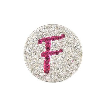 Navika  Pink Initial Micro Pave Crystal Ball Marker + Clip  F