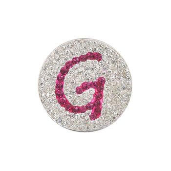Navika  Pink Initial Micro Pave Crystal Ball Marker + Clip  G