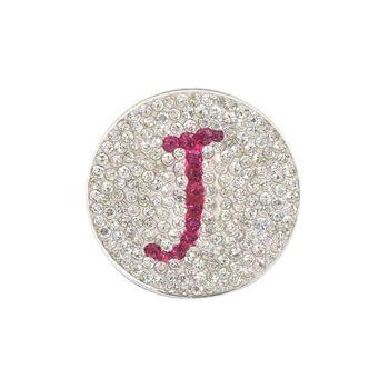 Navika  Pink Initial Micro Pave Crystal Ball Marker + Clip  J