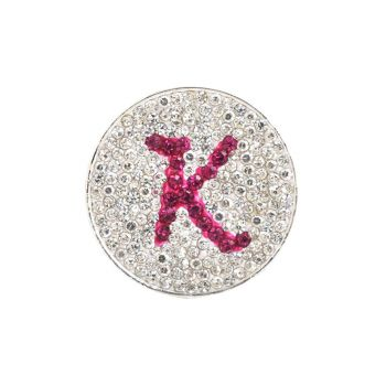 Navika  Pink Initial Micro Pave Crystal Ball Marker + Clip  K