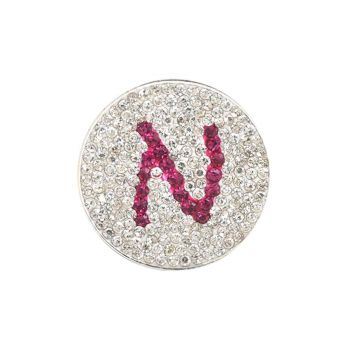 Navika  Pink Initial Micro Pave Crystal Ball Marker + Clip  N