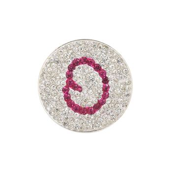 Navika  Pink Initial Micro Pave Crystal Ball Marker + Clip  O