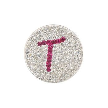 Navika  Pink Initial Micro Pave Crystal Ball Marker + Clip  T