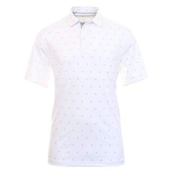 Nike Men's Dri-Fit Player Club Print Golf Polo - White/Brushed Silver