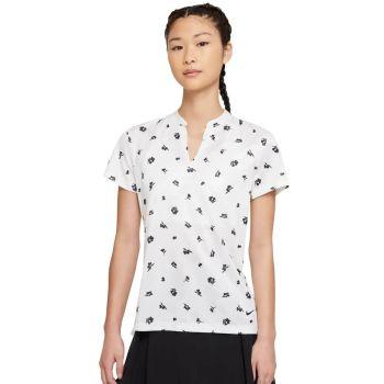 Nike Women's Short Sleeve Dri-Fit Victory Thistle Golf Polo - White/Black