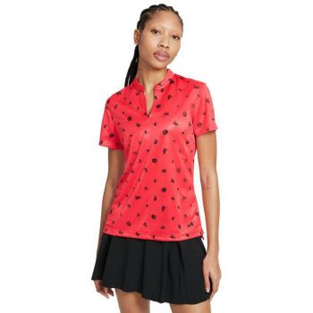 Nike Women's Short Sleeve Dri-Fit Victory Thistle Golf Polo - Fusion Red/Black