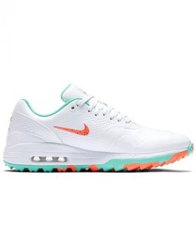 Nike Air Max 1G Golf Shoes - White/Hot Punch/Aurora Green