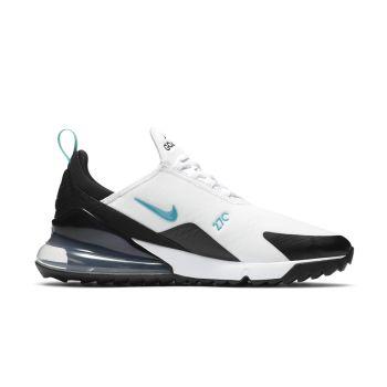 Nike Air Max 270G Golf Shoes - White/Black/Metallic Silver/Dusty Cactus