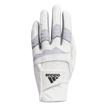 Adidas Men's Leather Cord Chaos Golf Gloves Left Hand (For the Right Handed Golfer) - White/Hall Silver