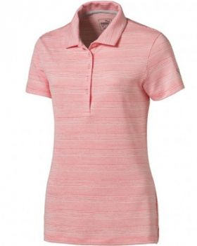 Puma Women's Heather Stripe Golf Polo - Nrgy Peach