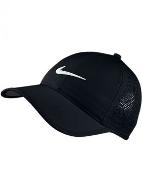 NIKE WOMEN'S PERFORATED ADJUSTABLE GOLF HAT - BLACK/WHITE