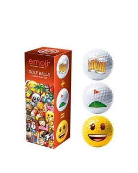 EMOJI 3PK NOVELTY GOLF BALLS (BEER, GOLF, HAPPY)