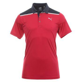 Puma Men's Golf Rotation Bonded Colorblock Golf Polo - Persian Red