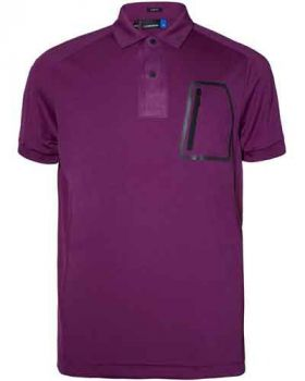 J. Lindeberg Max Slim TX Jersey Polo Shirt - Cooling Deep Purple (Size S)
