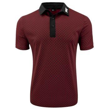 PXG Men's Athletic Infinite Logo Polo (Athletic Fit) - Crimson/Black