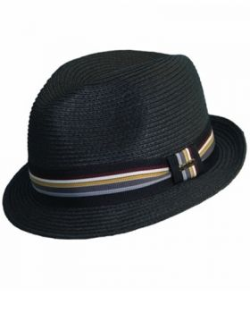 Scala Stripe Ribbon Fedora - Black