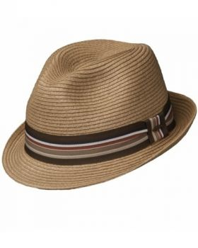 Scala Stripe Ribbon Fedora - Brown