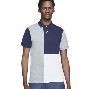 Nike Men's Slim Fit Golf Polo - Obsidian/Dark Grey Heather/White/Particle Grey