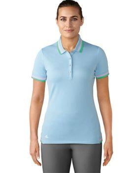 Adidas Women's Double Stripe SS Polo - Ice Blue