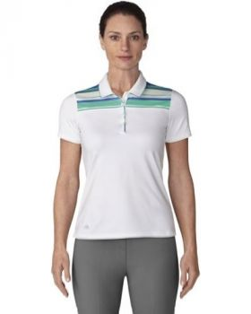 Adidas Women's Ultimate Merch Stripe Polo - White/Hi Res Green