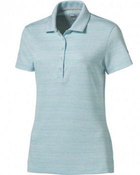 Puma Women's Heather Stripe Golf Polo - Nrgy Turquoise