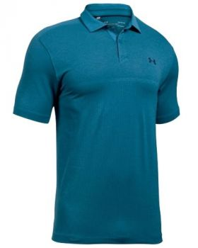 Under Armour Threadborne Tour Jacquard Golf Polo Shirt - Bayou Blue/Academy