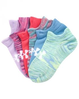 Under Armour Girl's Essentials No-Show 6-Pack Socks - Assorted