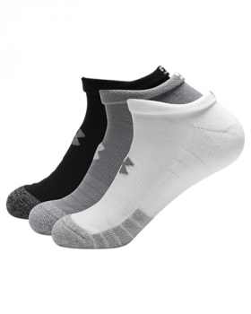 Under Armour Adult HeatGear® No Show 3 Pack Socks - Steel